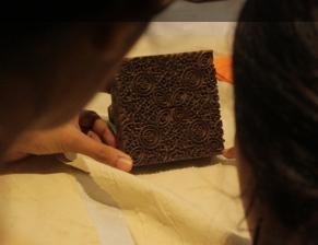 Block for printing with ishq pech ('love affair') pattern / sahapedia.org